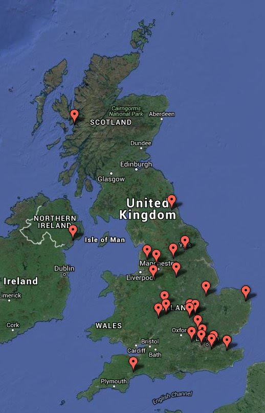 Locations of schools taking part, as seen from the ISS, but with added helpful labels!