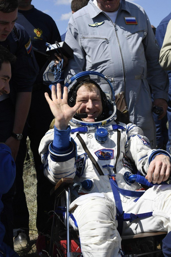 Tim Peake after landing | Image: ESA–Stephane Corvaja, 2016